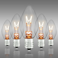 C7 - Clear - Candelabra Base  -  7 Watt - Christmas Light Replacement Bulbs - 130 Volt - 25 Pack