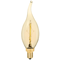 C35 Decorative Chandelier - 20 Watt - 4.7 in. Length - Vintage Light Bulb - Candelabra Base - Amber Tinted - PLT C35 120V20W 7A