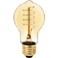60 Watt - Vintage Light Bulb - A17 - Victorian Style - 4.25 in. Length - Spiral Tungsten Filament - Amber Tinted