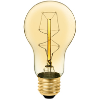60 Watt - Vintage Light Bulb - A17 - Victorian Style - 4.2 in. Length - Z-Shape Filament - Amber Tinted