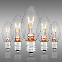 C7 - Clear - Candelabra Base  -  5 Watt - Christmas Light Replacement Bulbs - 130 Volt - 25 Pack