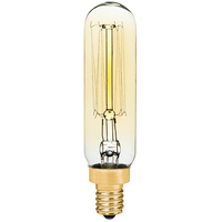 25 Watt - Vintage Antique Light Bulb - T6 Tubular Style - 3.3 in. Length - Candelabra Base - Squirrel Cage Filament - Tinted
