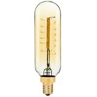 40 Watt - Vintage Antique Light Bulb - Tubular Style - 3.5 in. Height - Candelabra Base - Spiral Filament - Multiple Supports - Tinted  - 120V