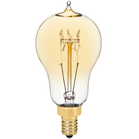 Edison Style - 25 Watt - 3.75 in. Length - Vintage Antique Light Bulb - Multiple Supports - Candelabra Base - Tinted Glass Finish - PLT ALB25WA15LOOP