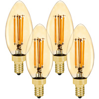 LED Chandelier Bulb - 4.5 Watt - 40 Watt Equal - 350 Lumens - 2200 Kelvin - Candle Glow - Amber Tint - Candelabra Base - 120 Volt - 4 Pack - Euri Lighting VB10-3020ea-4