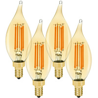 LED Chandelier Bulb - 4.5 Watt - 40 Watt Equal - 350 Lumens - 2200 Kelvin - Candle Glow - Amber Tint - Candelabra Base - 120 Volt - 4 Pack - Euri Lighting VBA10-3020ea-4