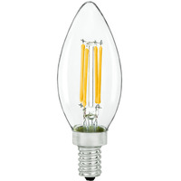 LED Chandelier Bulb - 4 Watt - 40 Watt Equal - 300 Lumens - 3000 Kelvin - Halogen Match - Clear - Candelabra Base - 120 Volt - Bulbrite 776876