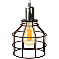 Jar Shaped Cage Pendant - Polished Nickel Fixture - Includes Black Cage