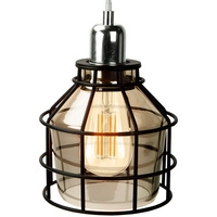 Jar Shaped Cage Pendant - Polished Nickel Fixture - Includes Black Cage and Smoke Glass