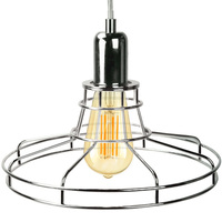 Railroad Shaped Cage Pendant - Polished Nickel Fixture - Includes Polished Nickel Cage