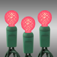 24 ft. Stringer - (70) LED Mini G12s - PINK - 4 in. Spacing - Green Wire - 120 Volt