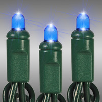 25 ft. LED String Lights - (50) Multi-Directional LED's - Blue  - 6 in. Bulb Spacing - Green Wire - Commercial Duty - 100 Set Max. Connection - Male to Female Connection - 120 Volt - HLS 10720