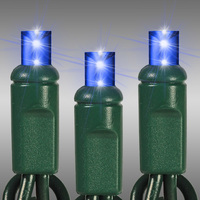 17 ft. LED String Lights - (50) Wide Angle LED's - Blue - 4 in. Bulb Spacing - Green Wire - Omni-Directional - Commercial Duty - 60 Set Max. Connection - Male to Female Connection - 120 Volt - HLS 37-635-89