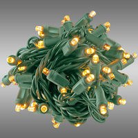 17 ft. Rolled LED String Lights - Warm White Deluxe - 4 in. Bulb Spacing - Green Wire - Male to Female Connection - Rolled Contractor Pack - Case of 24 - (50) Wide Angle LEDs - Omni-Directional - Commercial Duty - 40 Set Max. Connection - 120V
