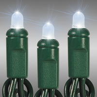 26 ft. LED String Lights - (50) Multi-Directional LEDs - Cool White  - 6 in. Bulb Spacing - Green Wire - Commercial Duty - 60 Set Max. Connection - Male to Female Connection - 120 Volt - HLS 10482