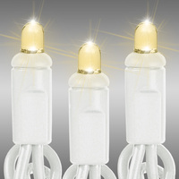 26 ft. LED String Lights - (50) Multi-Directional LEDs - Warm White  - 6 in. Bulb Spacing - White Wire - Commercial Duty - 40 Set Max. Connection - Male to Female Connection - 120 Volt - HLS 50CV-WWCLW