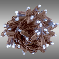 26 ft. String Lights - Rolled Contractor Packs - (50) Wide Angle LEDs - Cool White Twinkle - 6 in. Bulb Spacing - Omni-Directional - Brown Wire - 4.8 Watt - Commercial Duty - 40 Set Max. Connection - Male to Female Connection - 120V - Case of 24