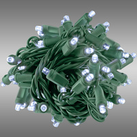 26 ft. Rolled LED String Lights - Cool White - 6 in. Bulb Spacing - Green Wire - Male to Female Connection - Rolled Contractor Pack - Case of 24 - (50) Wide Angle LEDs - Omni-Directional - Commercial Duty - 40 Set Max. Connection - 120V