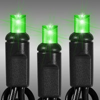 25 ft. LED String Lights - (50) Wide Angle LEDs - Lime Green Frost - 6 in. Bulb Spacing - Black Wire - Omni-Directional - Commercial Duty - 90 Set Max. Connection - Male to Female Connection - 120 Volt - HLS 5MM50LF-B