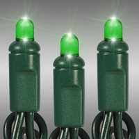 25 ft. LED String Lights - (50) Multi-Directional LEDs - Green - 6 in. Bulb Spacing - Green Wire - Commercial Duty - 100 Set Max. Connection - Male to Female Connection - 120 Volt - HLS 50CV-GRG