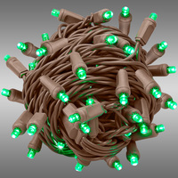 26 ft. String Lights - Rolled Contractor Packs - (50) Wide Angle LEDs - Green - 6 in. Bulb Spacing - Omni-Directional - Brown Wire - 4.8 Watt - Commercial Duty - 40 Set Max. Connection - Male to Female Connection - 120V - Case of 24