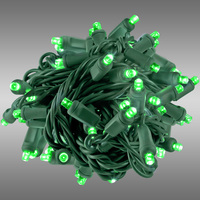 26 ft. Rolled LED String Lights - Green - 6 in. Bulb Spacing - Green Wire - Male to Female Connection - Rolled Contractor Pack - Case of 24 - (50) Wide Angle LEDs - Omni-Directional - Commercial Duty - 40 Set Max. Connection - 120V