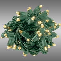 26 ft. Rolled LED String Lights - Warm White - 6 in. Bulb Spacing - Green Wire - Male to Female Connection - Rolled Contractor Pack - Case of 24 - (50) Wide Angle LEDs - Omni-Directional - Commercial Duty - 40 Set Max. Connection - 120V