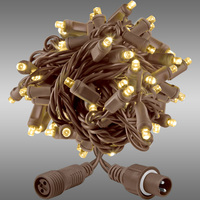 21 ft. String Lights - Rolled Contractor Packs - (50) Wide Angle LEDs - Warm White - 5 in. Bulb Spacing - Brown Wire - 4.8 Watt - Commercial Duty - 40 Set Max. Connection - Male to Female Coaxial Connection - 120V - Case of 24