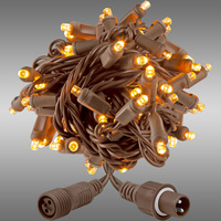 21 ft. String Lights - Rolled Contractor Packs - (50) 5mm Wide Angle - Warm White Deluxe - 5 in. Bulb Spacing - Brown Wire - 4.8 Watt - Commercial Duty - 40 Set Max. Connection - Male to Female Coaxial Connection - 120V - Case of 24