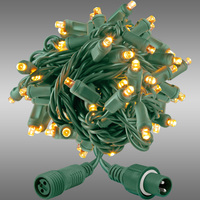 21 ft. String Lights - Rolled Contractor Packs - (50) 5mm Wide Angle - Warm White Deluxe - 5 in. Bulb Spacing - Green Wire - 4.8 Watt - Commercial Duty - 40 Set Max. Connection - Male to Female Coaxial Connection - 120V - Case of 24