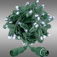 21 ft. String Lights - Rolled Contractor Packs - (50) 5mm Wide Angle - Twinkle Cool White - 5 in. Bulb Spacing - Green Wire - 4.8 Watt - Commercial Duty - 40 Set Max. Connection - Male to Female Coaxial Connection - 120V - Case of 24