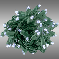 17 ft. Rolled LED String Lights - Cool White - 4 in. Bulb Spacing - Green Wire - Male to Female Connection - Rolled Contractor Pack - Case of 24 - (50) Wide Angle LEDs - Omni-Directional - Commercial Duty - 40 Set Max. Connection - 120V