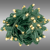17 ft. Rolled LED String Lights - Warm White - 4 in. Bulb Spacing - Green Wire - Male to Female Connection - Rolled Contractor Pack - Case of 24 - (50) Wide Angle LEDs - Omni-Directional - Commercial Duty - 40 Set Max. Connection - 120V