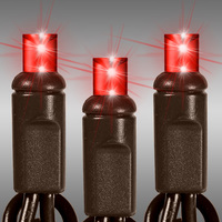 13 ft. LED String Lights - (50) Wide Angle LEDs - Red - 2.5 in. Bulb Spacing - Brown Wire - Omni-Directional - Commercial Duty - 90 Set Max. Connection - Male to Female Connection - 120 Volt - Christmas Lite Co. 50L-5MM-2.5BRRD
