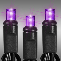 25 ft. LED String Lights - (50) Wide Angle LEDs - Purple - 6 in. Bulb Spacing - Black Wire - Omni-Directional - Commercial Duty - 60 Set Max. Connection - Male to Female Connection - 120 Volt - HLS 5MM50P-B
