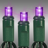 17 ft. LED String Lights - (50) Wide Angle LEDs - Purple - 4 in. Bulb Spacing - Green Wire - Omni-Directional - Commercial Duty - 60 Set Max. Connection - Male to Female Connection - 120 Volt - HLS 45512R-PB24