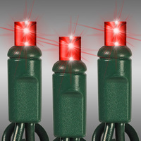24 ft. LED String Lights - (70) Wide Angle LEDs - Red - 4 in. Bulb Spacing - Green Wire - Omni-Directional - Commercial Duty - 40 Set Max. Connection - Male to Female Connection - 120 Volt - HLS 45602