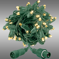21 ft. String Lights - Rolled Contractor Packs - (50) Wide Angle LEDs - Warm White - 5 in. Bulb Spacing - Green Wire - 4.8 Watt - Commercial Duty - 40 Set Max. Connection - Male to Female Coaxial Connection - 120V - Case of 24