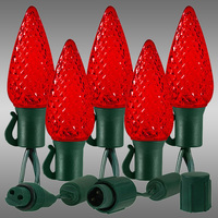 (25) Bulbs - Commercial LED System - Red C9 Lights - Length 25 ft. - Bulb Spacing 12 in. - 120V - Green Wire - Rectified - Requires one plug adapter (not included)