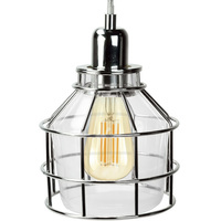 Jar Shaped Cage Pendant - Polished Nickel Fixture - Includes Polished Nickel Cage and Clear Glass