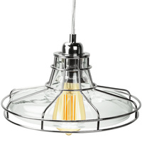Railroad Shaped Cage Pendant - Polished Nickel Fixture - Includes Polished Nickel Cage and Clear Glass