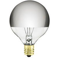 40 Watt - G16 Globe Incandescent Light Bulb - Clear Silver Bowl - Candelabra Brass Base - 120 Volt - Satco S3245