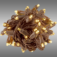 17 ft. Rolled LED String Lights - Warm White - 4 in. Bulb Spacing - Brown Wire - Male to Female Connection - Rolled Contractor Pack - Case of 24 - (50) Wide Angle LEDs - Omni-Directional - Commercial Duty - 40 Set Max. Connection - 120V