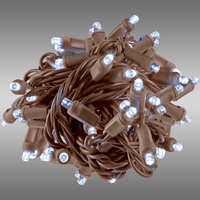 17 ft. Rolled LED String Lights - Cool White - 4 in. Bulb Spacing - Brown Wire - Male to Female Connection - Rolled Contractor Pack - Case of 24 - (50) Wide Angle LEDs - Omni-Directional - Commercial Duty - 40 Set Max. Connection - 120V