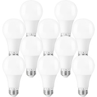 450 Lumens - LED A19 - 6 Watt - 40W Equal - 2700 Kelvin - 10 Pack - Incandescent Match - Medium Base - 120 Volt - PLT-11655-10PK