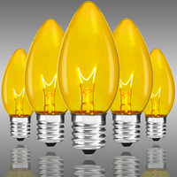 C9 - Transparent Yellow - Intermediate Base - 7 Watt - Double Dipped - Christmas Light Replacement Bulbs - 130 Volt - 25 Pack