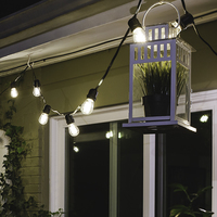 52 ft. Patio String Lights - (25) LED S14 Bulbs Included - Black Wire - 24 Sockets - 24 in. Spacing - Male to Female