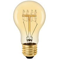 40 Watt - Vintage Light Bulb - A17 - Victorian Style - 4.06 in. Length - Quad Loop Filament - Amber Tinted