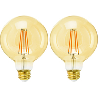 3.75 in. Dia. - LED G30 Globe - 6.5 Watt - 60 Watt Equal - Candle Glow - 2 Pack - 650 Lumens - 2200 Kelvin - Medium Base - 120 Volt - SYLVANIA 40068