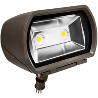 6600 Lumens - LED Flood Light - 5000 Kelvin - 57 Watt - Replaces 175 Watt Metal Halide - 120-277 Volt - Knuckle Mount - ILP CFM-52W-U-50-N76/M-BRZ